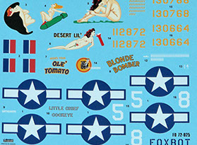 Foxbot B-25 C//D//J Mitchell Stencils 1:72 For Scale Models 72-012